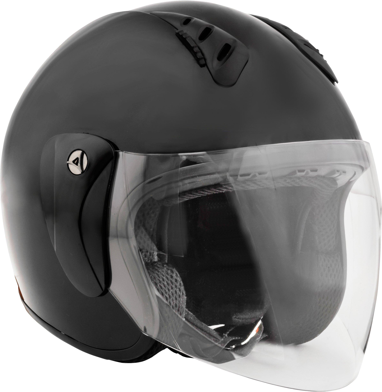 Fuel Helmets SH-WS0017 Gloss Black X-Large Shield-DOT Approved Motorcycle Open Face Helmet by Fuel Helmets