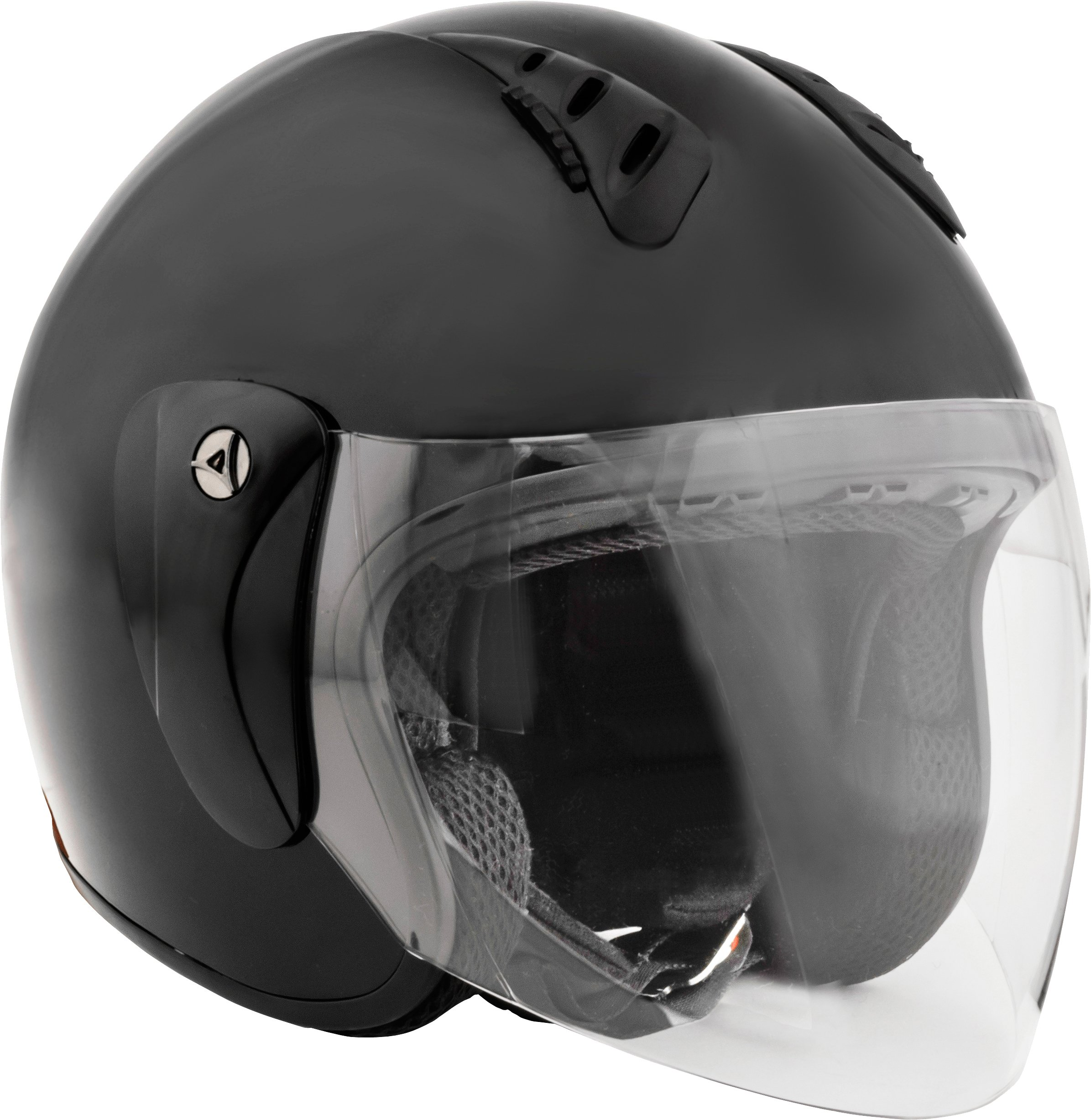 Fuel Helmets SH-WS0016 Open Face Helmet with Shield, Gloss Black, Large