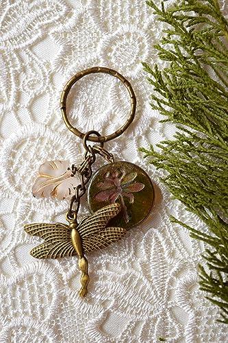 Amazon com: Dragonfly keychain Vintage keyring Charm Cute