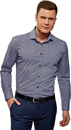 oodji Ultra Hombre Camisa Entallada con Cuello Doble