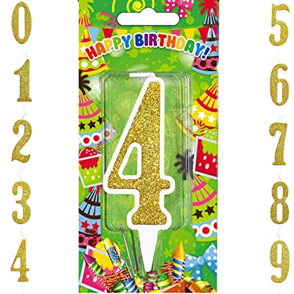 Amazon Big Gold Happy Birthday Candles Numbers Cake Topper