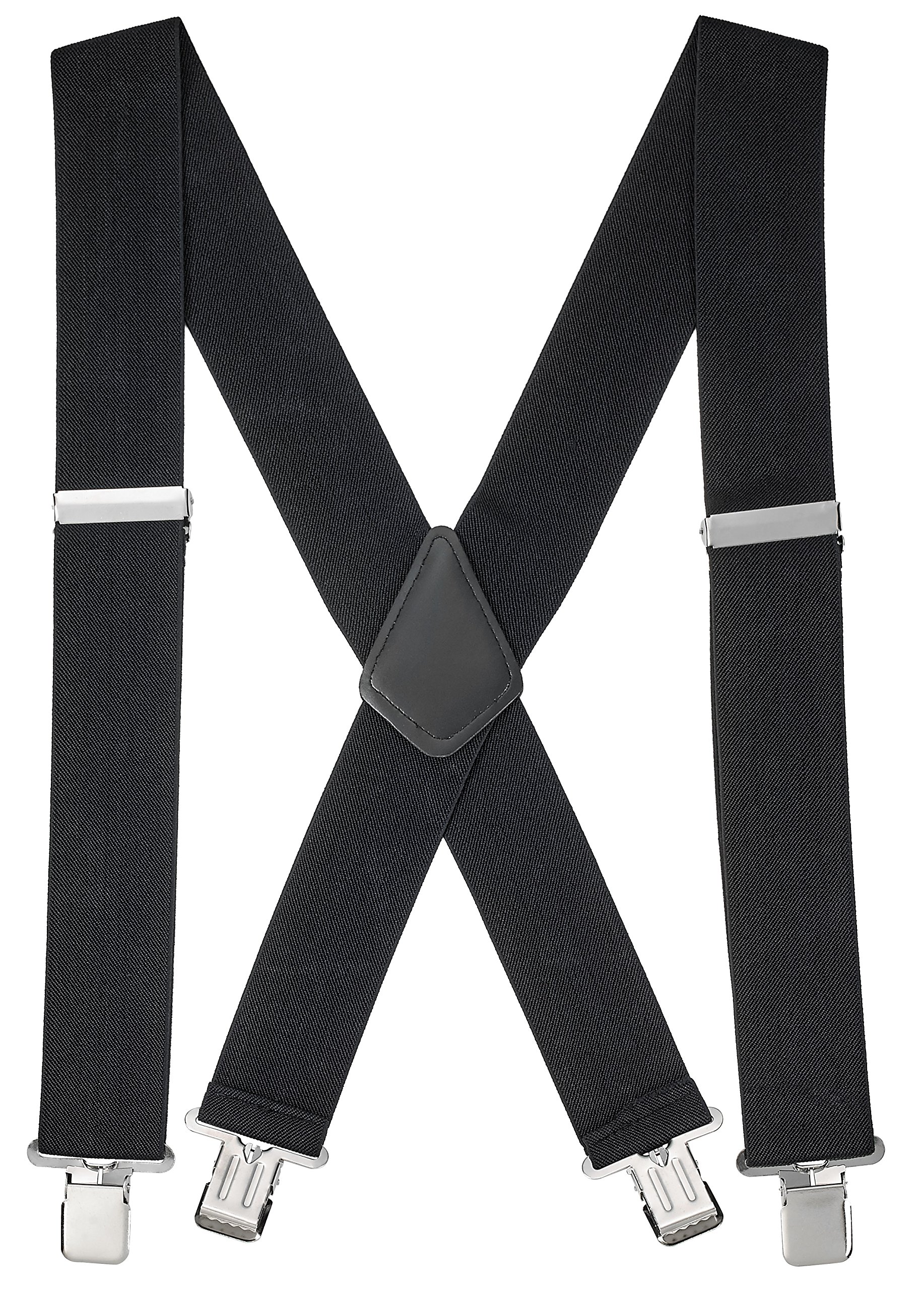 "Buyless Fashion 48'' Men's Heavy Duty 2"" Wide Elastic Adjustable X Back Suspender"