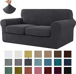 CHUN YI Stretch Sofa Slipcover Separate Cushion Couch Cover, Armchair Loveseat Replacement Coat for Ektorp Universal Sleeper, Checks Spandex Jacquard Fabric (Medium,Gray)
