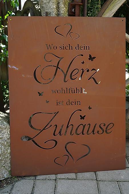 Edelrost Tafel Herz Gross 80cm Spruch Garten Metall Rost Schild