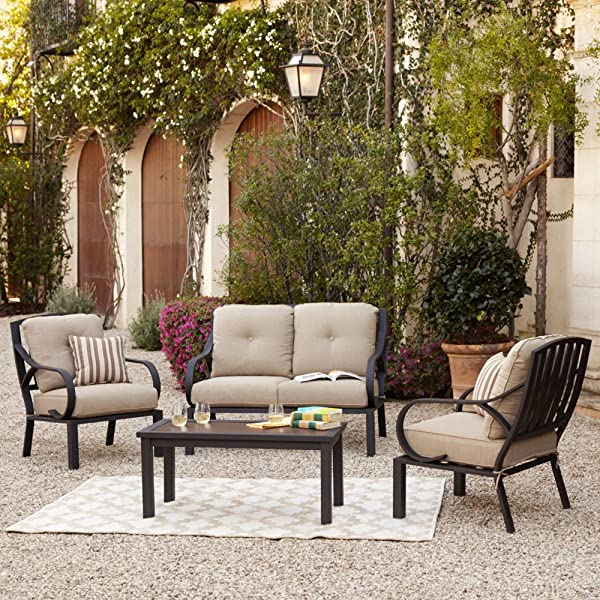 Norman 4-Piece Patio Cushion Conversation Seating Set / Outdoor Furniture Set W/ Loveseat, 2 Chairs, Coffee Table