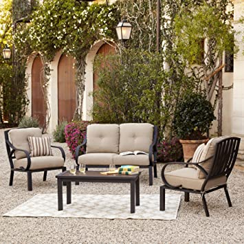 norman 4 piece patio cushion conversation seating set outdoor furniture set w loveseat