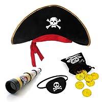 papapanda Pirata Cappello Toppa Dell'occhio Capitano Telescopio Borsa Tesoro per Bambini
