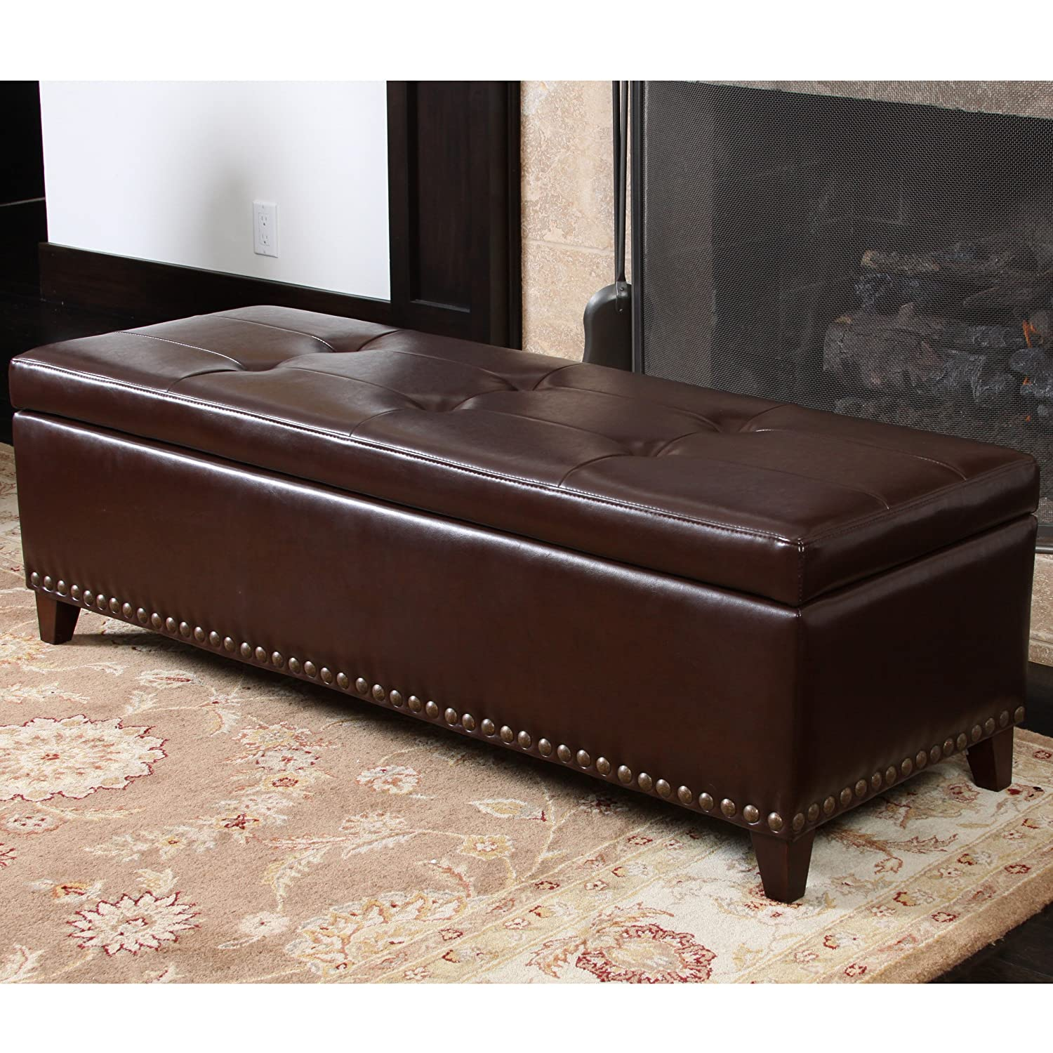 Amazon Charleston Brown Leather Storage Ottoman Kitchen & Dining