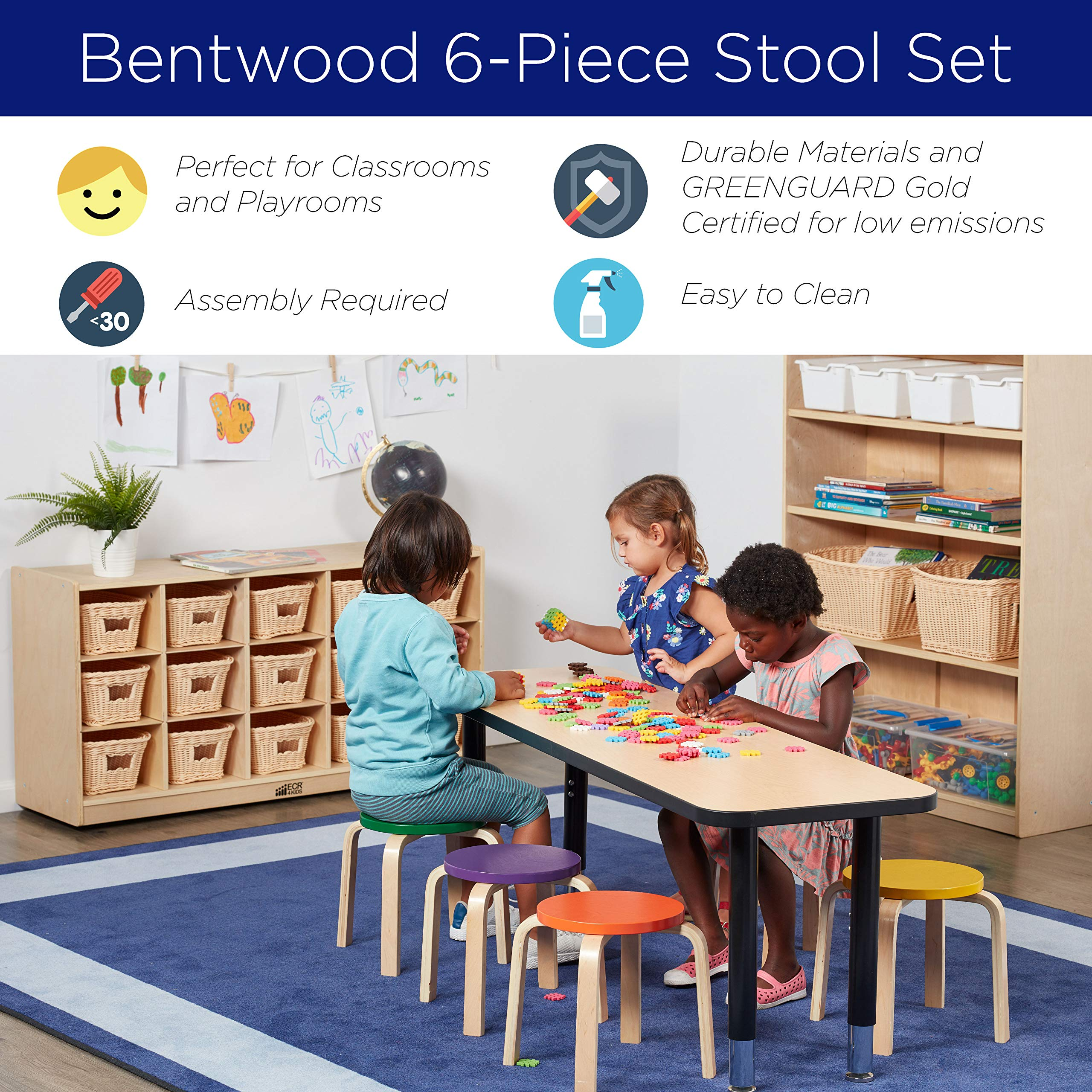 ECR4Kids Bentwood Stacking Stools for Kids, 12'' H, Assorted (6-Piece Set) by ECR4Kids (Image #6)