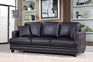 Meridian Furniture Ferrara Leather Nailhead Sofa, Black