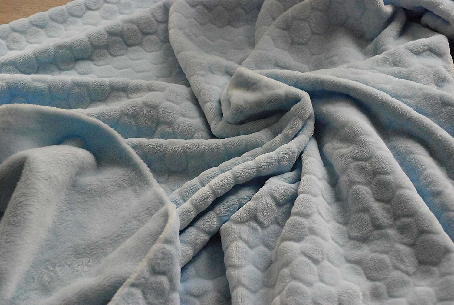 Bubble Pale Blue Double Sided Cuddle Soft Fleece Fabric Material