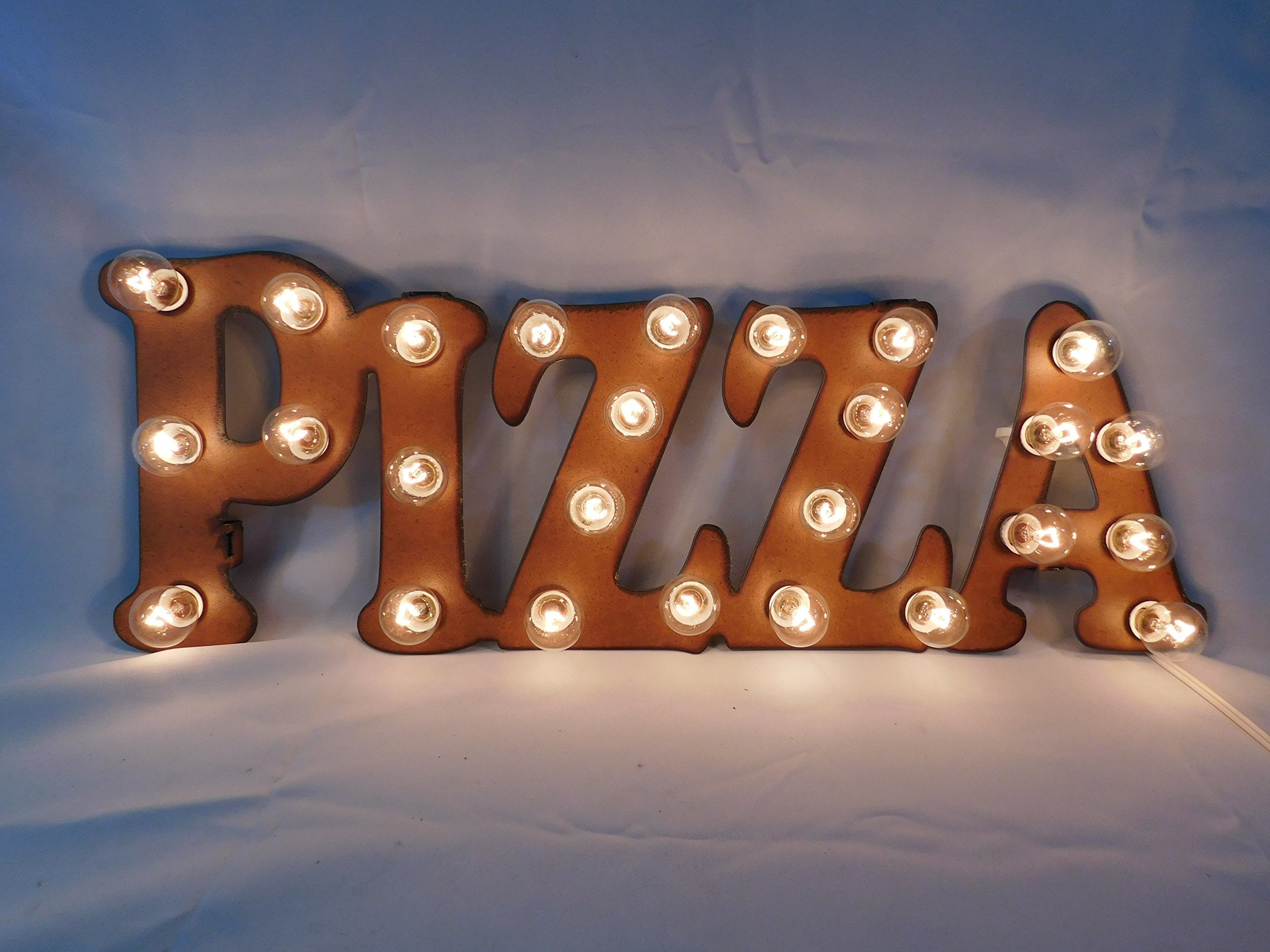Pizza marquee vintage inspired rusty rustic lighted sign