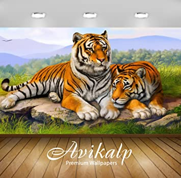 Avikalp Exclusive Awi2157 Tiger Couple Full Hd 3d Wallpaper 3 X 2