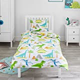 Bloomsbury Mill Dinosaur World - Kids Bedding Set - Junior/Toddler/Cot Bed Duvet Cover & Pillowcase