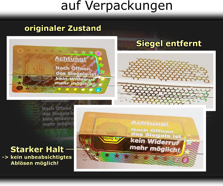 Sicherheitsetiketten Sicherheitssiegel Qualit/ätssiegel 105 3D Hologramm-Siegel 40*25mm gold gl/änzend Security Label Sticker Aufkleber selbstklebendes Etikett Garantiesiegel R/ücknahmesiegel