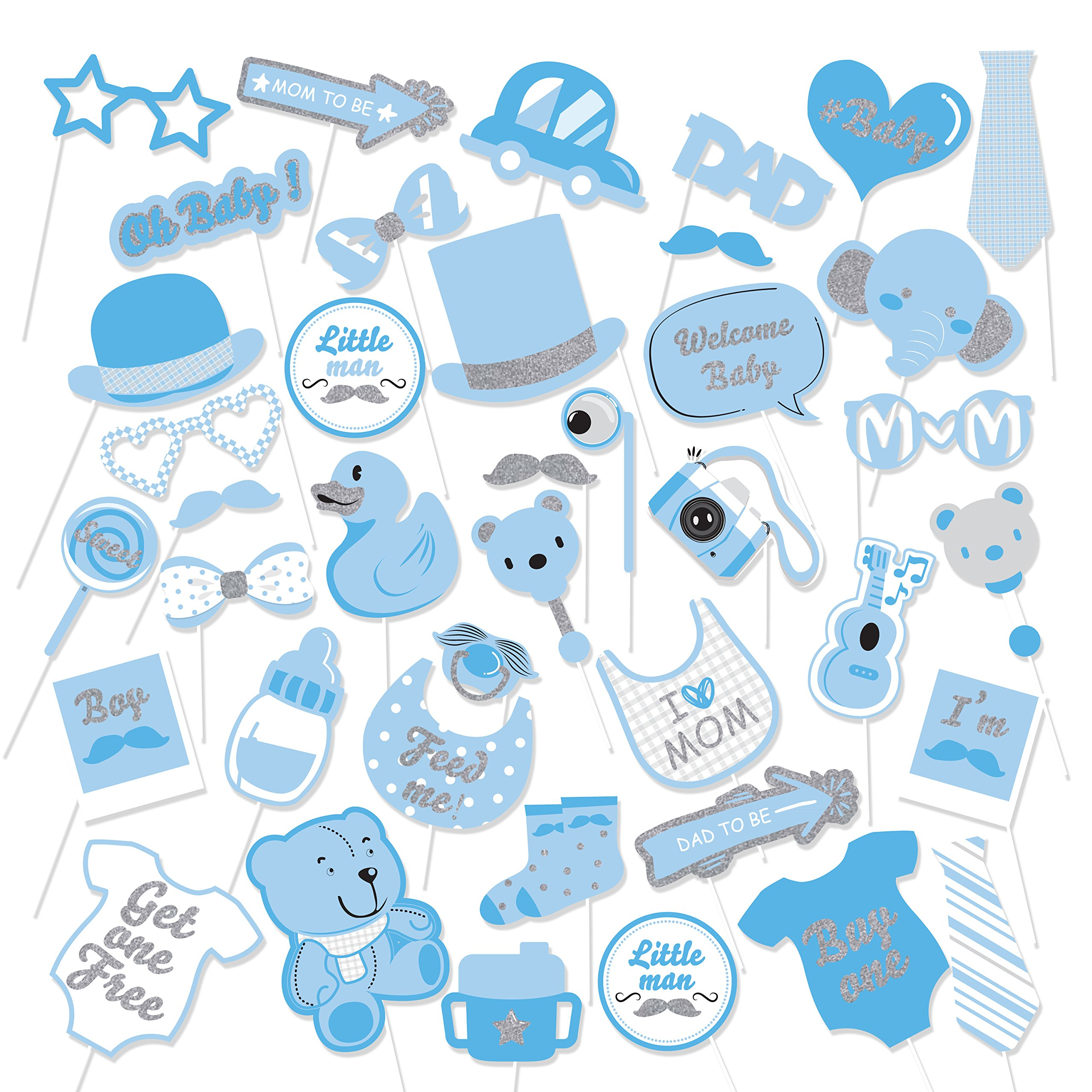 39Pcs Blue Glittering Baby Shower Photo Booth Props Baby Boy Shower Blue Theme Party Fvors Supplies Great for Lovely Baby, Baby Shower Party