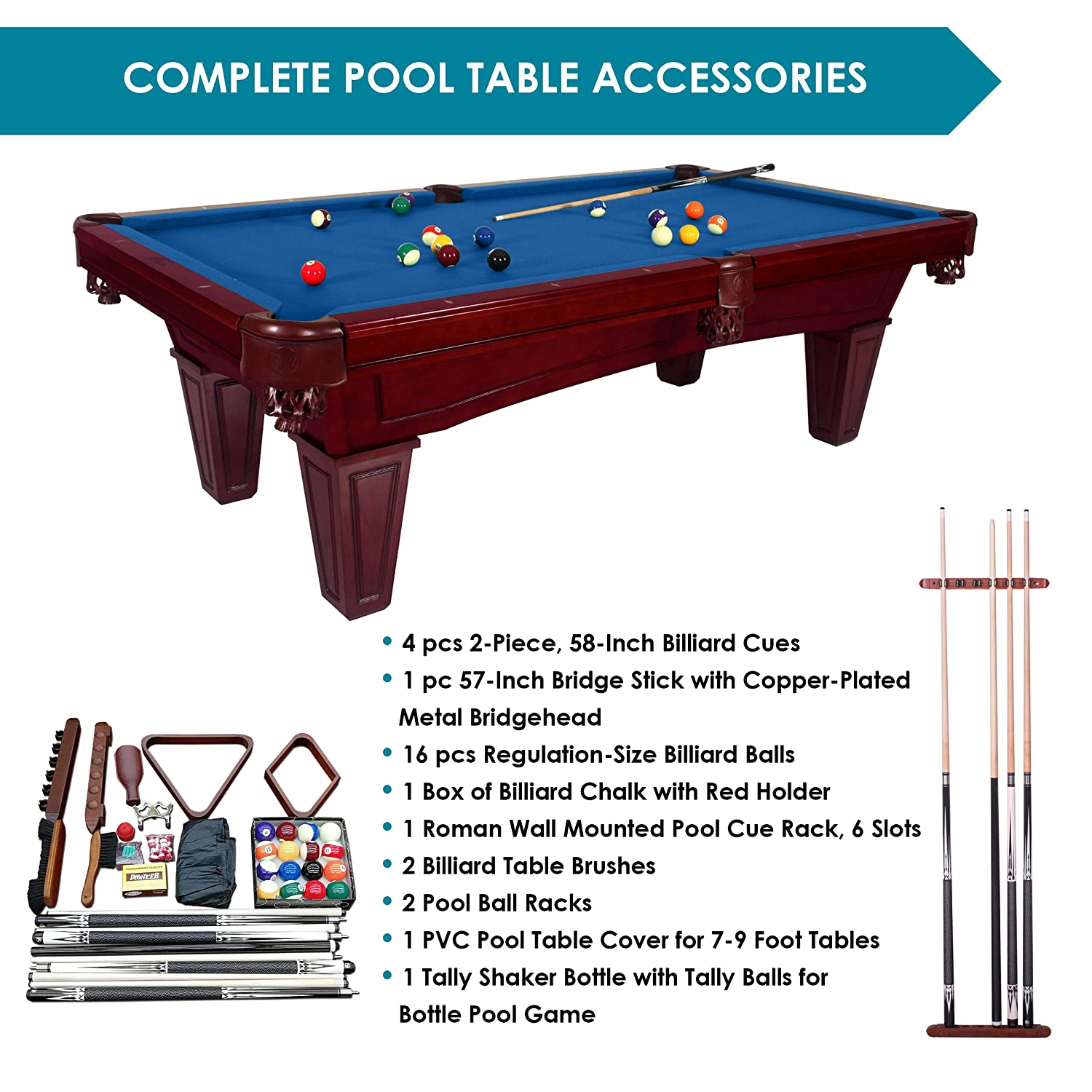 Etonnant Amazon.com : Harvil Toscana Black Cherry Slate Pool Table 8 Foot With Blue  Felt. Includes On Site Delivery, Installation And Accessories : Sports U0026  Outdoors