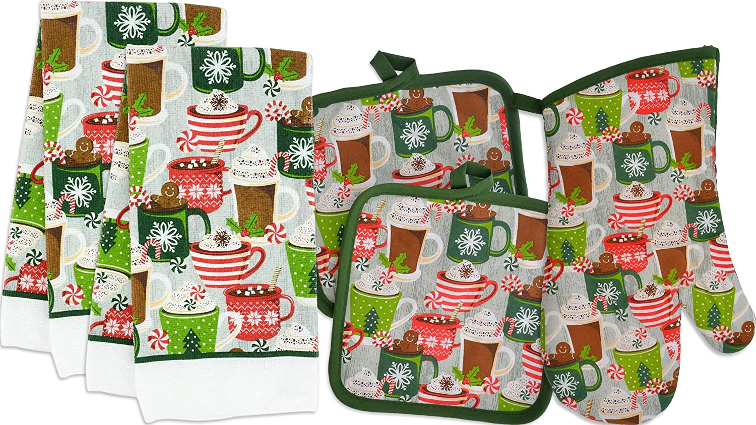 Christmas Towel Set Winter Themed Decor for Kitchen Bundle of 5 Items, 2 Towels, 2 Potholders, 1 Oven Mitt (Hot Cocoa)
