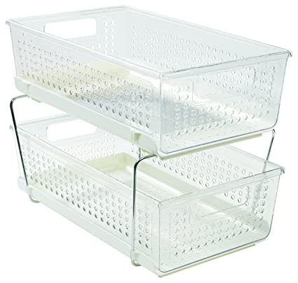 Pull Out Cabinet Basket 2 Tier, For Kitchen Accessories Or Pantry  Organization, Clear