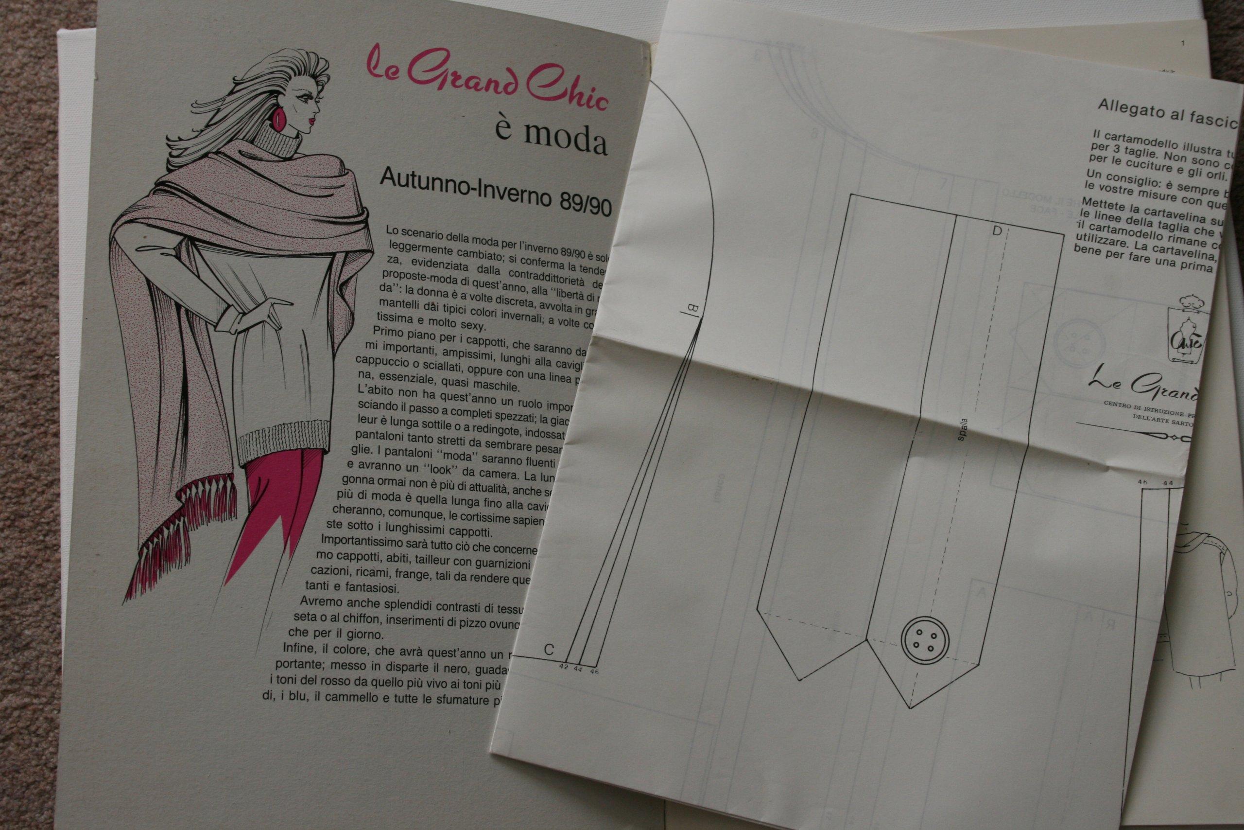 LE GRAND CHIC Alta Moda Autunno-Inverno 1989 90 Italian Fashions (Servizio  Modelli Contiene Cartamodello in 3 Taglie)  Amazon.co.uk  CHIC  Books 1db19a78084