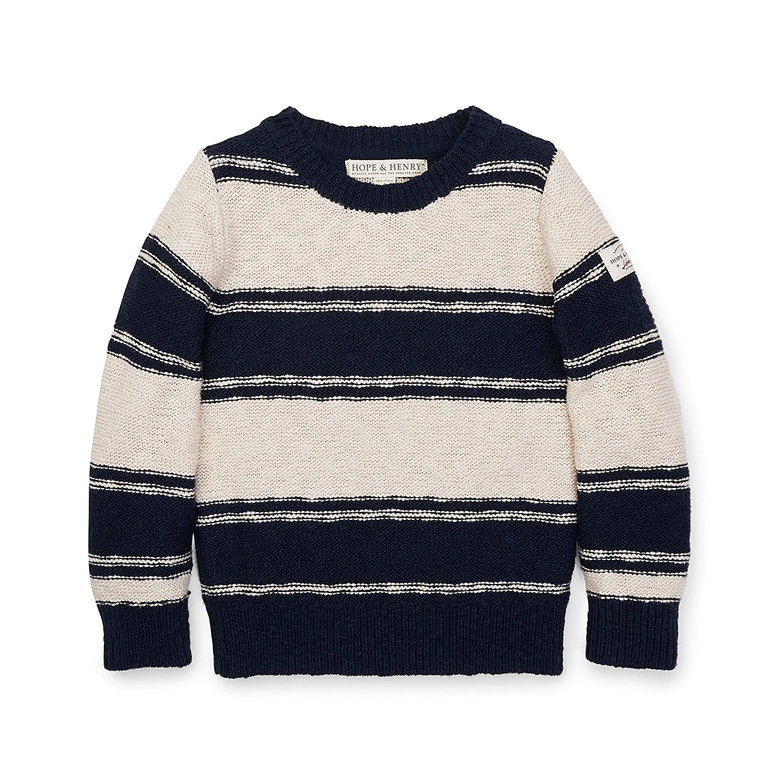 Hope & Henry Boys' Crew Oatmeal/Navy Neck Sweater Stripe