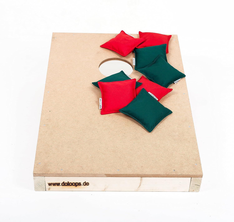Original Cornhole Spielset - ein Cornhole Board und 8 Cornhole Bags (je 4 rote und 4 grüne Cornhole Bags), original deutscher Cornhole Verband Turnierausstattung