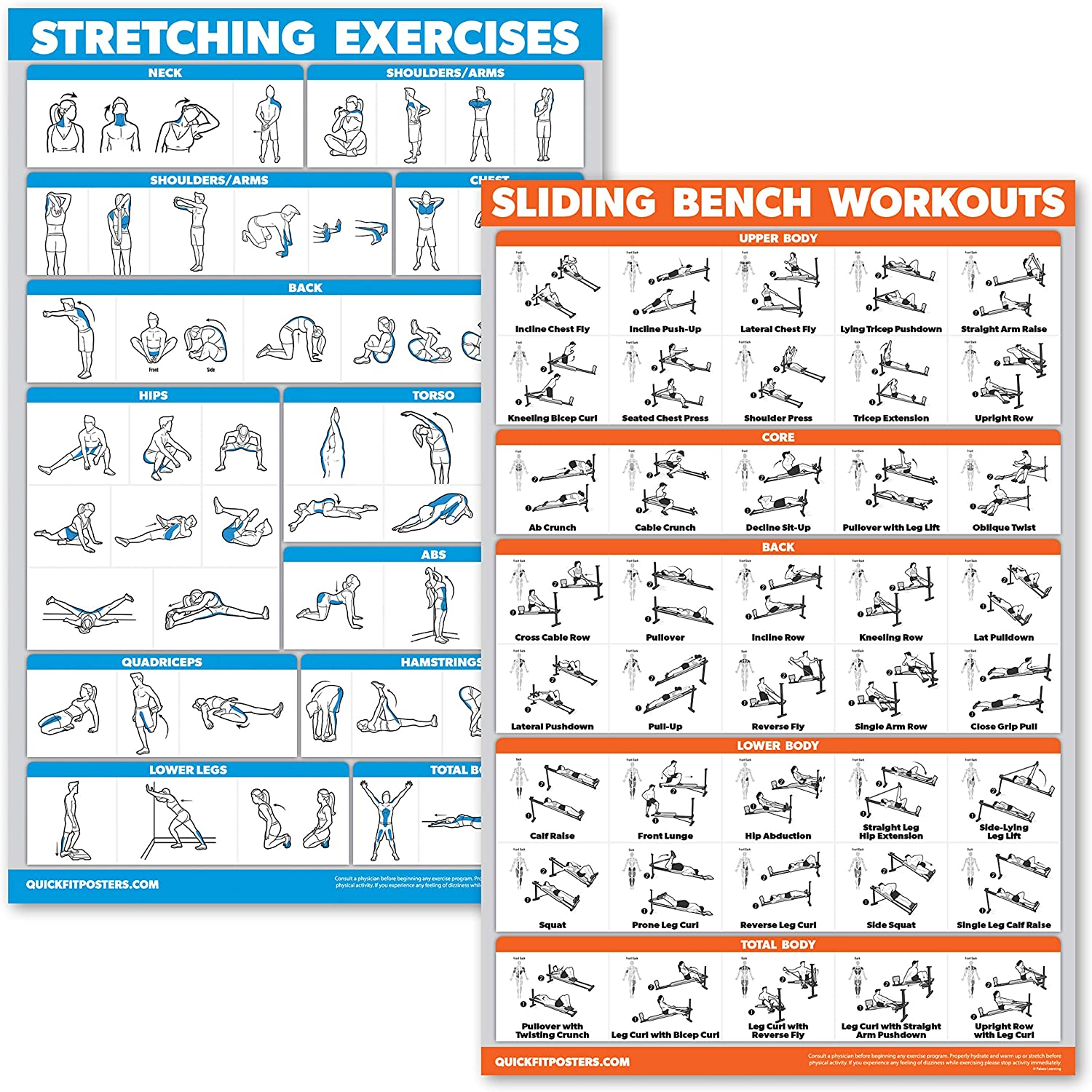 QuickFit 2 Pack - Stretching Exercises and Sliding Bench Workout Poster Set - Compatible with Total Gym & Weider Ultimate Body Works