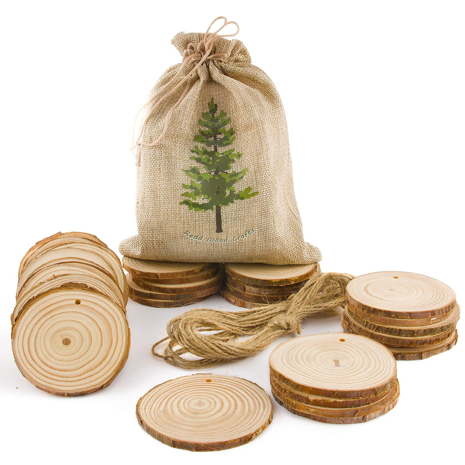 "2.25/"" With 16ft of Twine; Pre-Drilled Holes; For DIY Crafts Rustic Wedding D/écor; Unfinished Wooden Circles with Bark Seasonal and Holiday Decorations Natural Wood Slices 33pcs Christmas Ornaments"