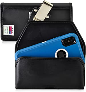 product image for Turtleback Belt Case Made for iPhone 11 Pro, XS & X with OB Defender case Black Holster Leather Pouch with Heavy Duty Rotating Ratcheting Belt Clip Horizontal Made in USA