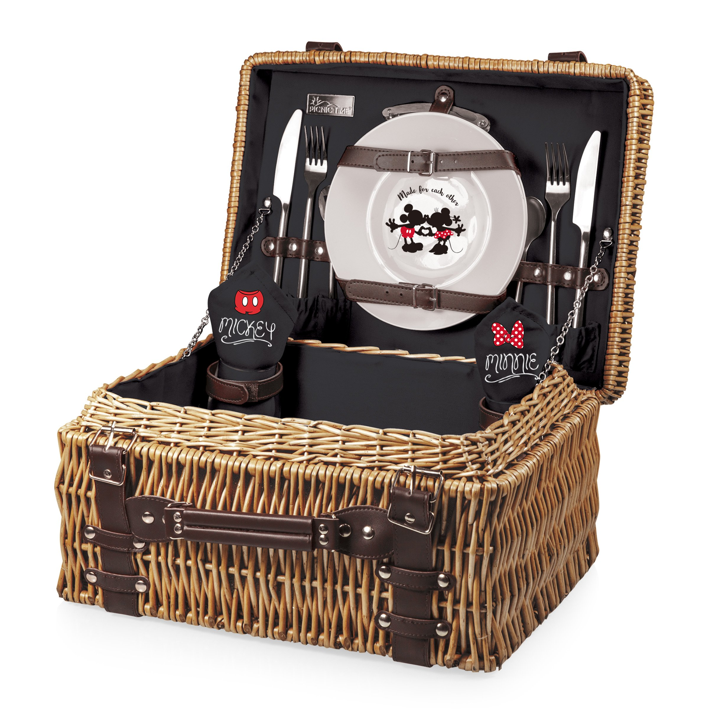 Disney Classics Mickey and Minnie Mouse Champion Picnic Basket with Deluxe Service for Two