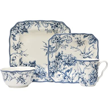 222 Fifth Adelaide 16 Piece Porcelain Dinnerware Set with Square Plates: Service for 4, Ivory/Blue