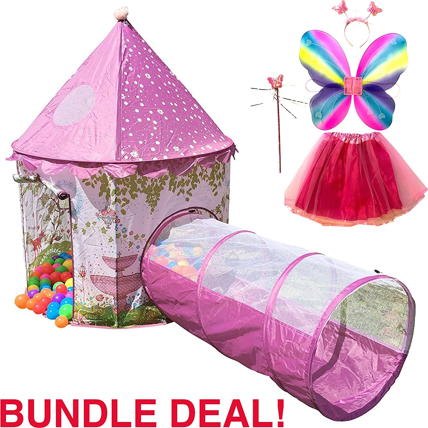 Playz 6-Piece Princess Castle Play Tent with Crawl Tunnel, Butterfly Wings, Tiara Crown, Princess Wand, Tutu Dress Up Costume, and Pink Girls Playhouse Fairy Tale Carrying Case Castle-Tent-Tunnel