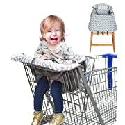Baby Caboodle 2 in 1 Shopping Cart Cover and High Chair Cover for Toddler or Baby Girl or Boy - Unisex, Machine Washable, Waterproof, Durable, Medium Size, Top Quality,