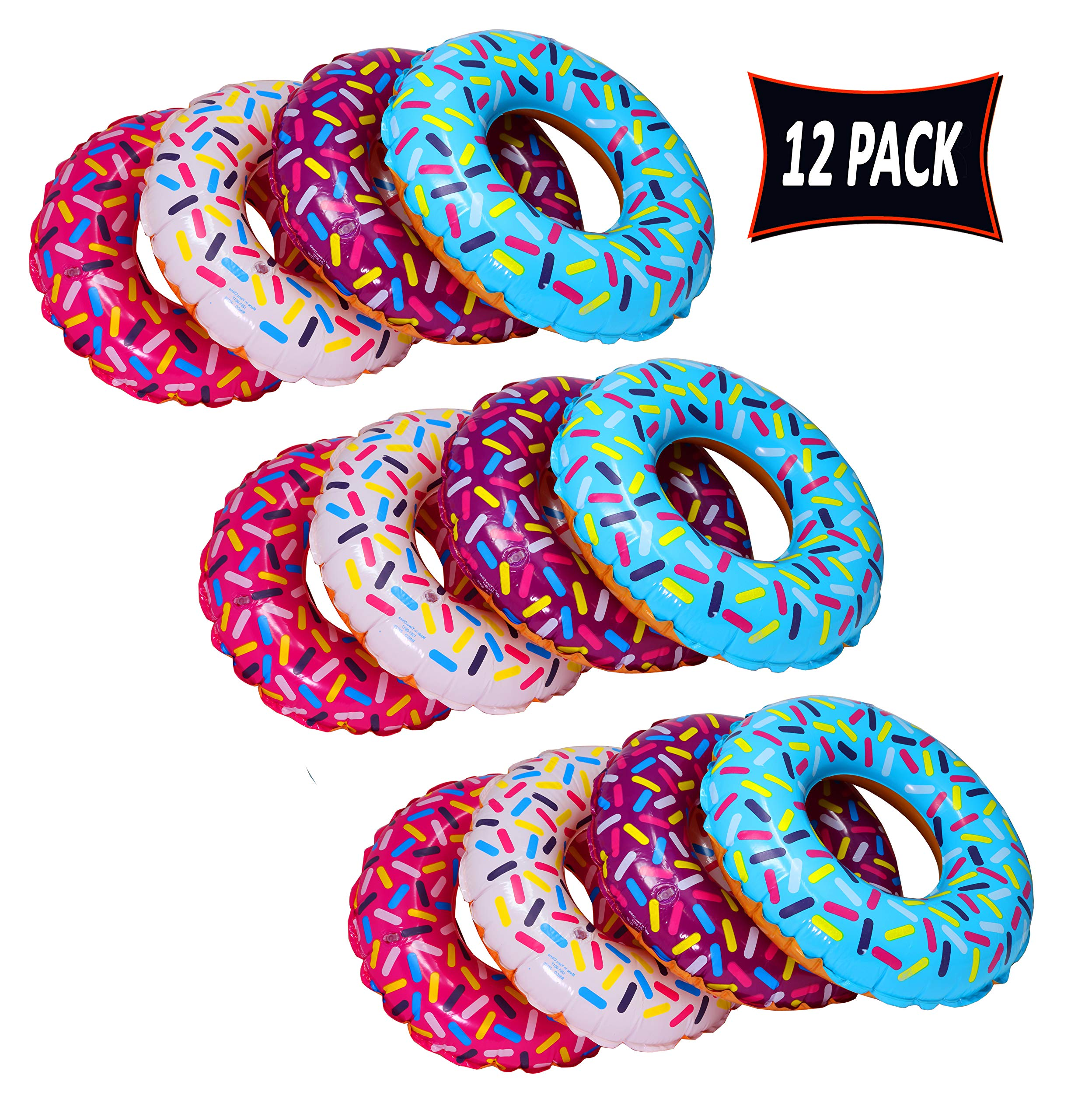 Inflatable Donut Party Decorations Pool and Beach Party Favor Pack of 12 Donut Shaped Inflatables 18 Inch by SN Incorp.
