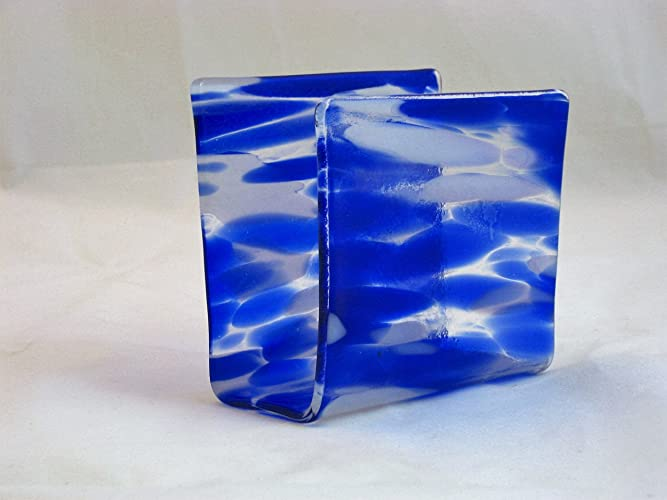 Fused Glass Napkin Holder, Kitchen Sponge Holder, Letter Holder, Mail Holder,  Desk