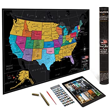Amazoncom Premium US Map By VespucciWorld Laminated Scrape - Us wall map where you put your pictures on