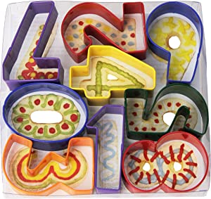 """R&M International 1998 Numbers 3"""" Cookie Cutters, Assorted Colors, 9-Piece Set"""