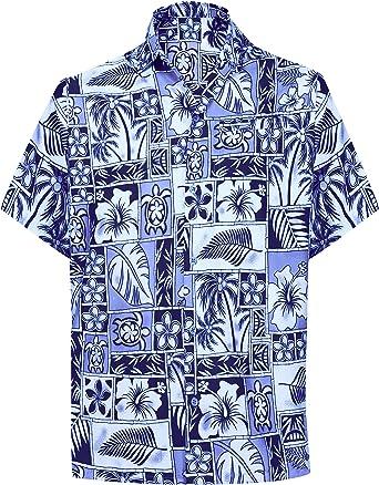 LA LEELA Casual Hawaiana Camisa para Hombre Señores Manga Corta Bolsillo Delantero Surf Palmeras Caballeros Playa Aloha M-(in cms):101-111 Azul_W404