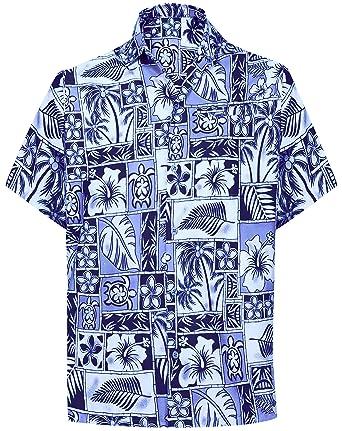 21c200013 LA LEELA botón Abajo de Camisa Casual Hawaiano de Las Hombre  Amazon.es   Ropa y accesorios