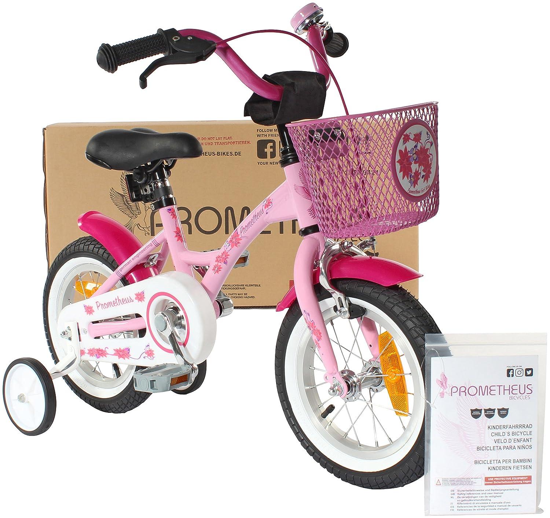 PROMETHEUS Kinderfahrrad 12 Zoll Mädchen in Rosa Lila & Weiß mit Stützrädern Seitenzugbremse und Rücktrittbremse ab 3 Jahren