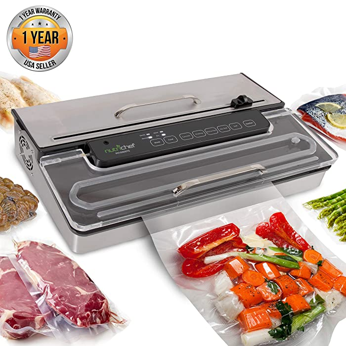 NutriChef PKVS50STS Commercial Grade Vacuum Sealer Machine-400W Automatic Double Piston Pump Air Machine Meat Packing Storage Preservation Sous Vide w/Dry Wet Seal, Vac Roll Bags