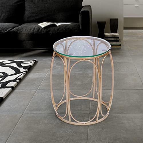 Joveco End Side Tables Set of 2, Glass Top 1