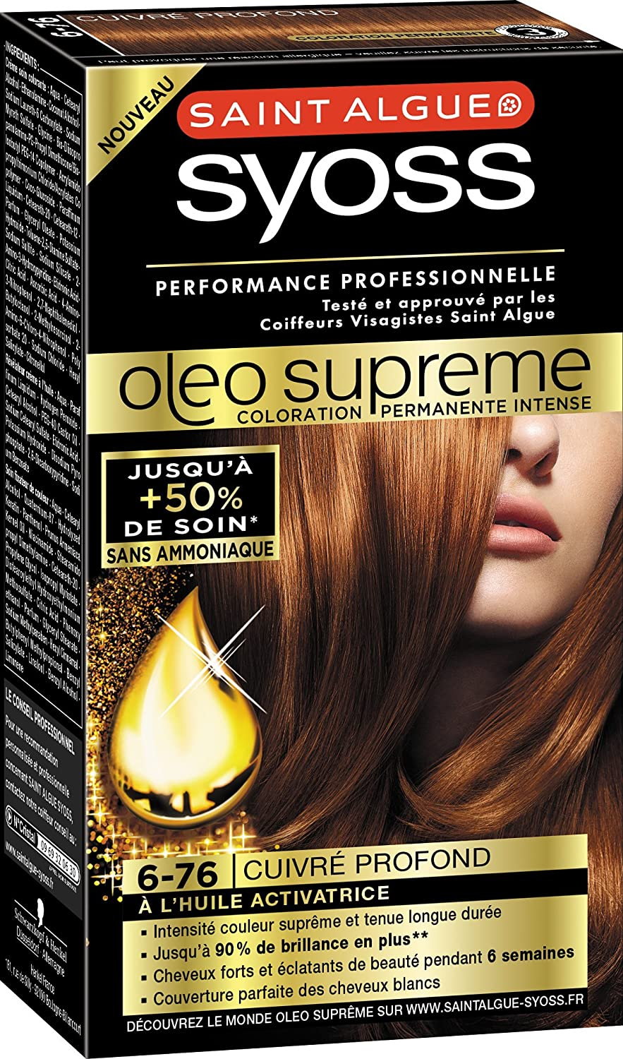 syoss saint algue olo suprme coloration permanente 6 76 cuivr profond - Coloration Mousse Saint Algue