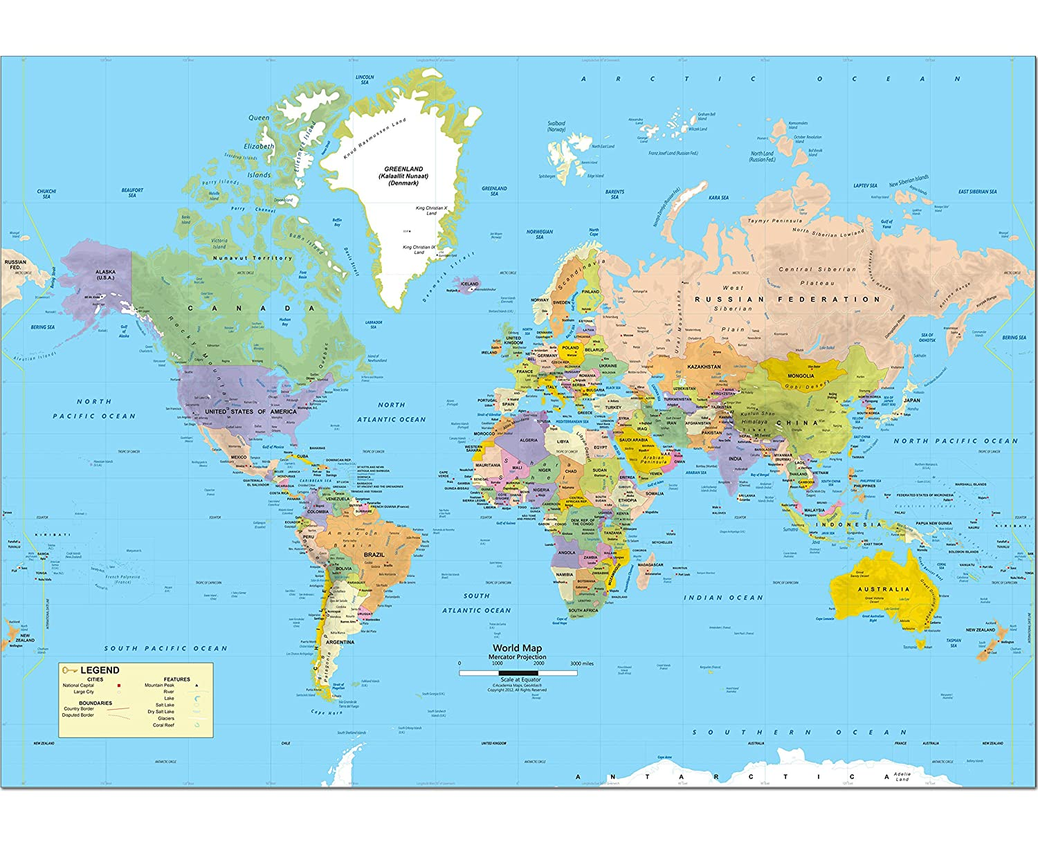 Amazon.com : Academia Maps - World Intermediate Political Wall Map on
