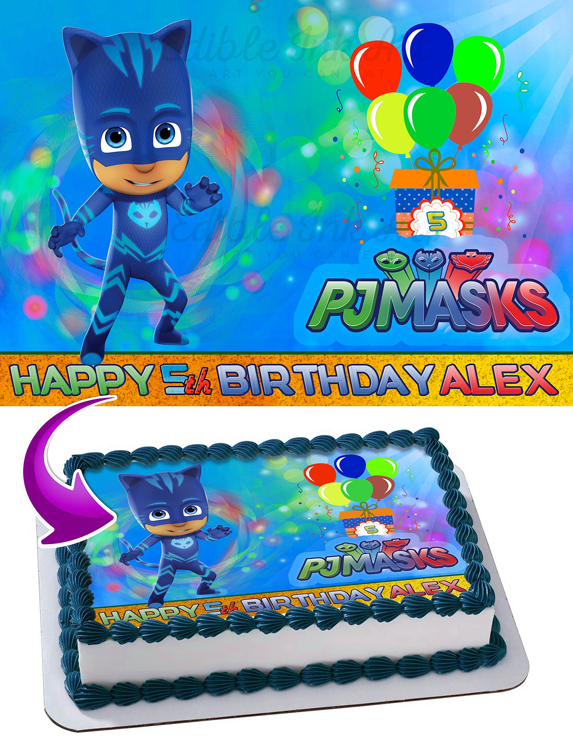 CatBoy PJ MASKS Edible Image Cake Topper Personalized Icing Sugar Paper A4 Sheet Edible Frosting Photo Cake 1/4 ~ Best Quality Edible Image for cake