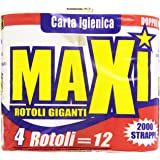 Maxi - Carta Igienica, Pura Ovatta di Cellulosa, 2 Veli - 4 rotoli