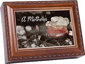 Cottage Garden A Mother's Love Bereavement Woodgrain Rope Trim Music Box Plays Amazing Grace