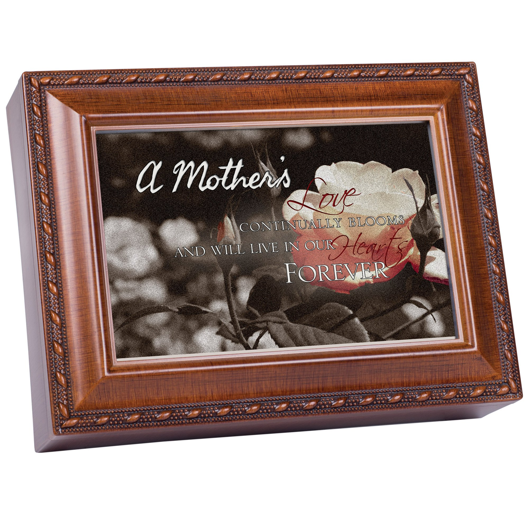 A Mother's Love Bereavement Memory Cottage Garden Rich Woodgrain Finish Jewelry Music Box - Plays Song Amazing Grace