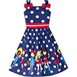Sunny Fashion Girls Dress Blue Ladybug Pink Dot Children Clothing Size 2-8 Years