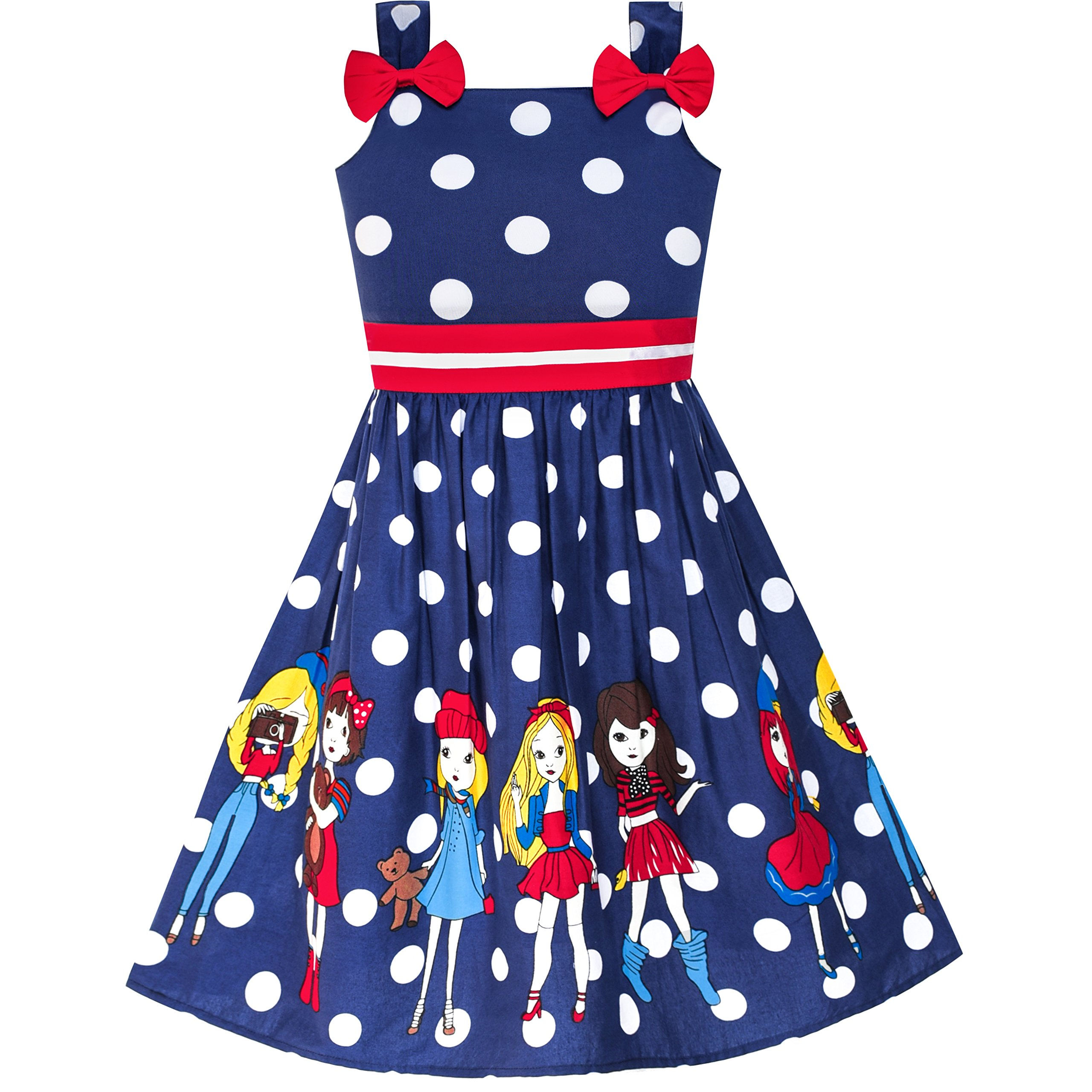 Sunny Fashion LY91 Girls Dress Cartoon Navy Blue Dot Bow Tie Summer Size 2-3